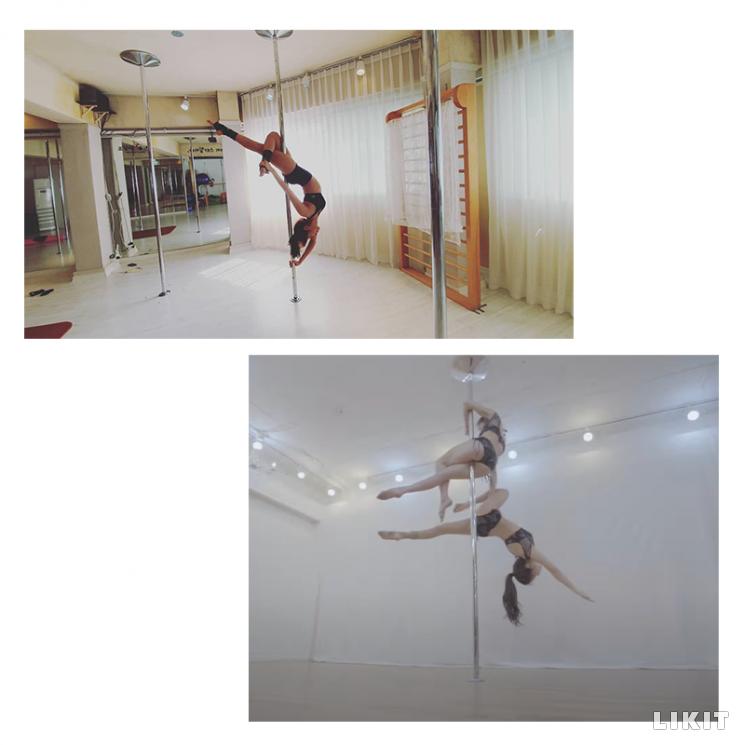 수직 기둥 폴을 이용한 폴 댄스./사진=유이 인스타그램, 유튜브 채널 '솔라시도' 화면캡처