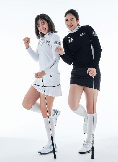 US여자오픈 챔프 출신인 이정은6(왼쪽)와 김아림이 화보 촬영 중 익살스러운 표정을 짓고 있다. 사진=팬텀스포츠