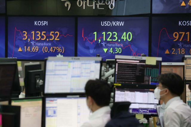 6일 서울 을지로 하나은행 딜링룸에서 딜러들이 일하고 있다. 이날 코스피 지수는 전 거래일보다 2.97포인트(0.10%) 오른 3123.80에 출발해 상승 흐름을 보이고 있다. /문호남 기자 munonam@