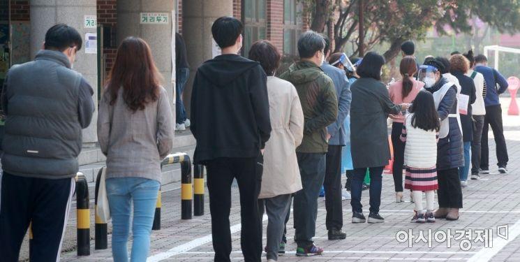4·7 재보궐선거가 실시된 7일 서울 노원구의 한 초등학교에 마련된 투표소에서 유권자들이 긴 줄을 서 있다. 사진은 기사와 직접적인 연관 없음 /김현민 기자 kimhyun81@