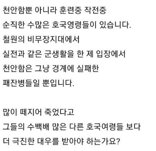 한 누리꾼은 천안함 희생 장병들을 향해 '패잔병'이라고 규정하기도 해 논란이 불거졌다. / 사진=인터넷 커뮤니티 캡처