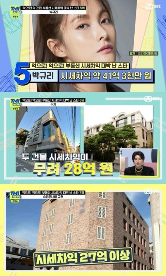 부동산 시세차익 대박 난 스타들. 사진=Mnet 'TMI NEWS' 방송 캡처