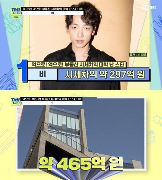 부동산 시세차익 대박 난 스타 1위를 차지한 가수 비. 사진=Mnet 'TMI NEWS' 방송 캡처