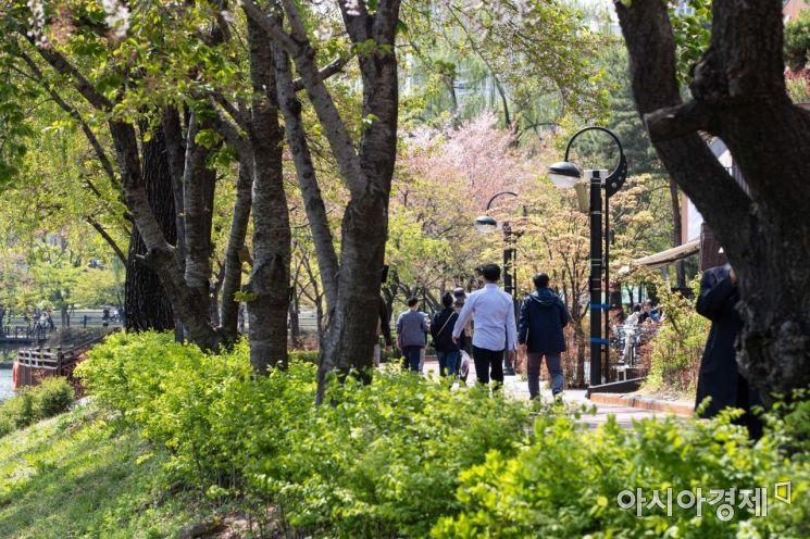 완연한 봄날씨가 이어지고 있는 9일 출입통제가 해제된 서울 송파구 석촌호수를 찾은 시민들이 산책을 하고 있다./강진형 기자aymsdream@