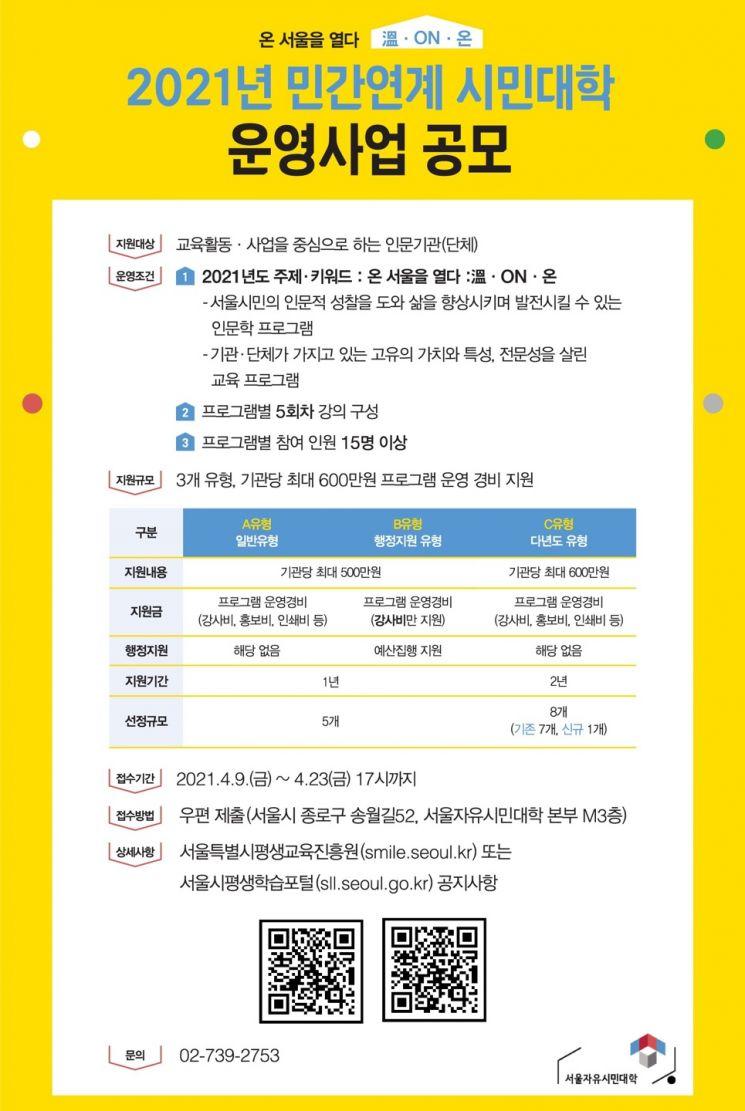 서울시평생교육진흥원, '민간연계 시민대학' 참여 기관 공모