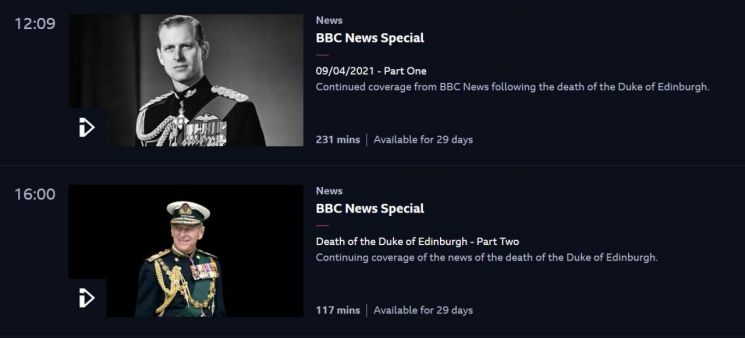 필립공 추모 특별 방송으로 가득한 9일(현지 시각) BBC1 편성표. [사진=BBC iPlayer 홈페이지 캡처]