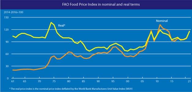 세계식량가격지수 추이.(자료=농림축산식품부)