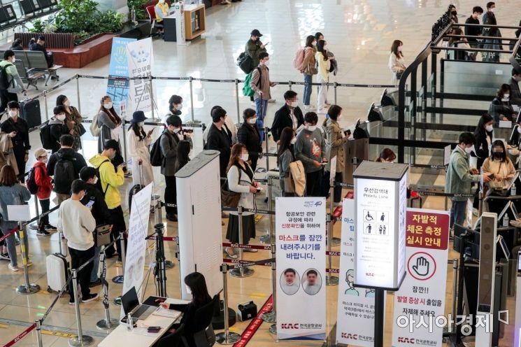 코로나19 신규 확진자가 614명 발생하며 사흘 연속 600명대를 이어가고 있는 11일 서울 김포공항 국내선에서 여행객들로 붐비고 있다./강진형 기자aymsdream@