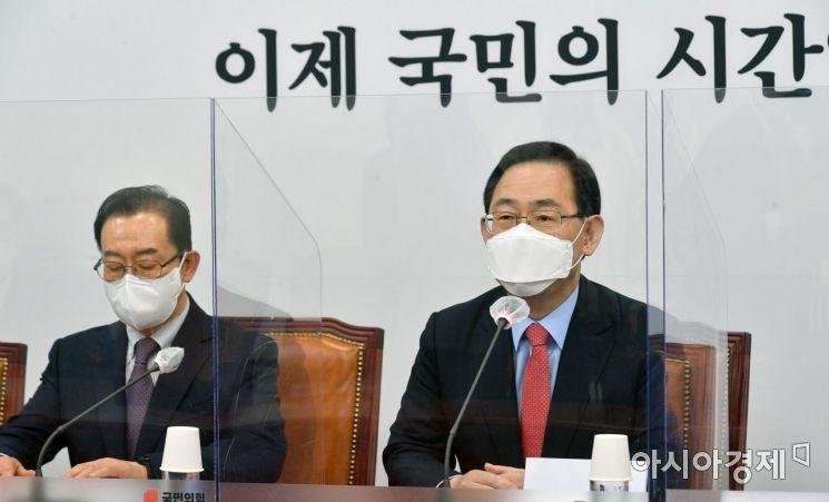 주호영 국민의힘 대표대행이 12일 국회에서 열린 비상대책위원회의 참석, 모두발언을 하고 있다.