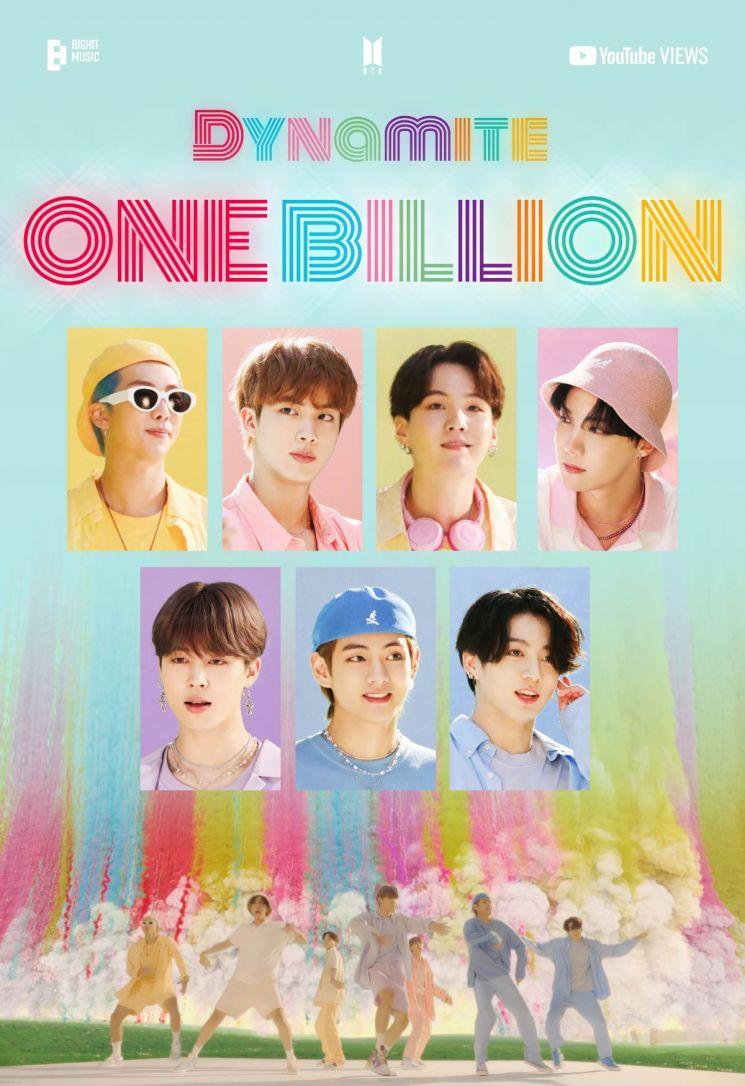 BTS '다이너마이트' 뮤비 10억뷰 달성…통산 3번째