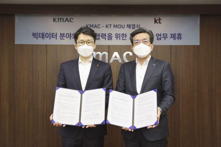 최준기 KT AI/BigData사업본부장(왼쪽)과 최돈모 KMAC CSO가 MOU 체결 후 기념사진을 촬영하고 있다.