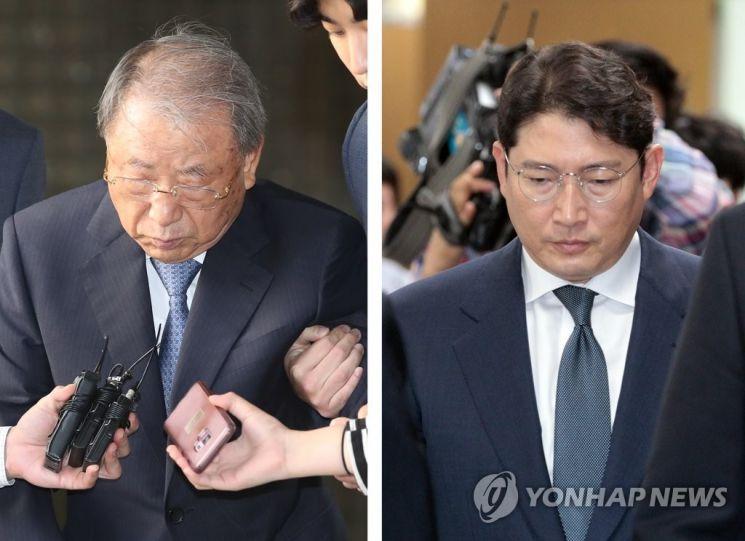 조석래 효성그룹 명예회장(왼쪽)과 조현준 회장.