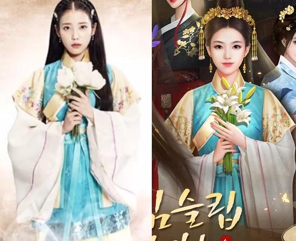 모바일 게임 '황제라 칭하라'에 아이유가 입었던 한복과 흡사한 의상이 등장해 논란이 되고 있다. 사진=SBS·SNS 캡처.