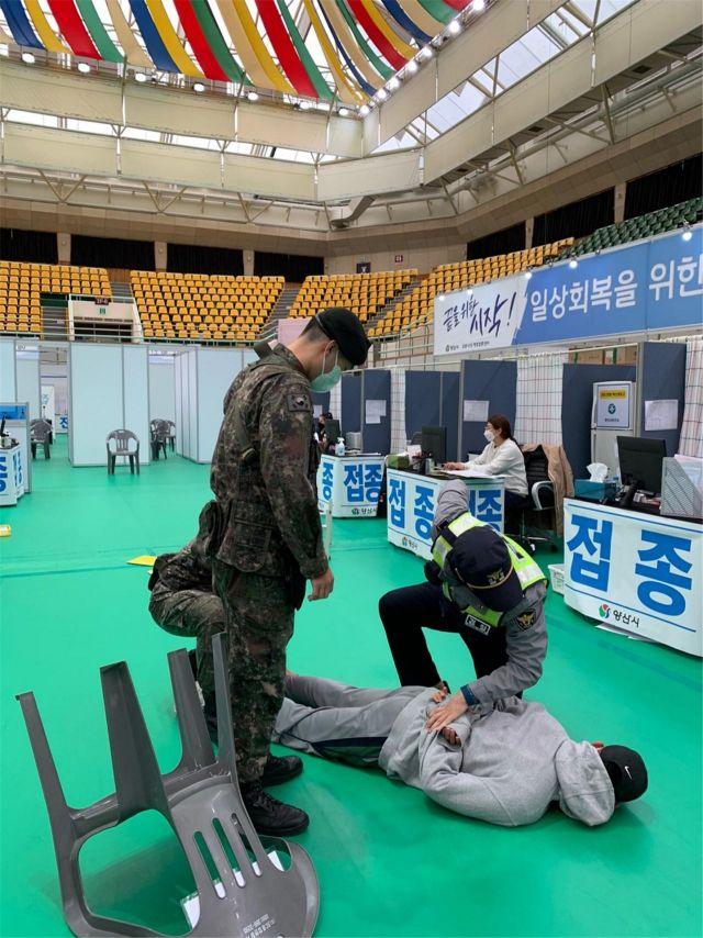 경남 양산시가 예방접종센터 개소를 앞두고 관군경 합동 실기동훈련을 했다.[이미지출처=양산시]