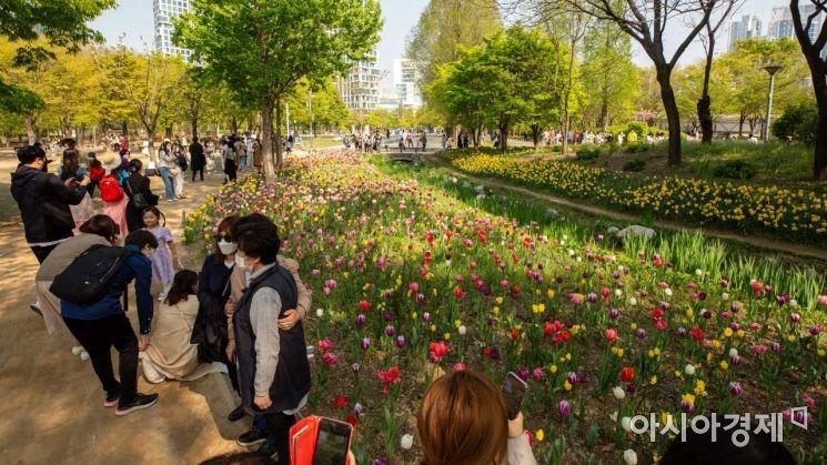 서울 한 낮 기온이 18도까지 상승하며 완연한 봄 날씨를 나타낸 15일 서울 성동구 서울숲을 찾은 시민들이 꽃을 배경으로 사진촬영을 하고 있다./강진형 기자aymsdream@
