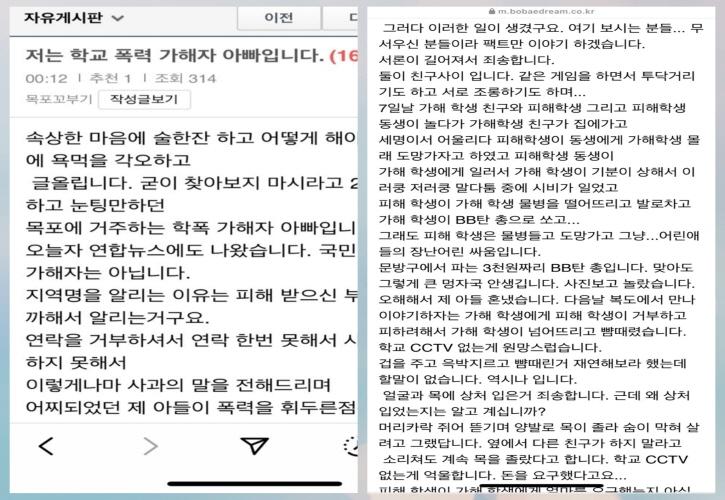 가해 학생 부모가 억울함을 주장하며 SNS에 올렸단 삭제된 글. 사진=독자 제공
