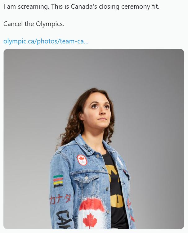 한 트위터 이용자가 캐나다 선수단이 입을 유니폼을 비판하고 있다. 사진=트위터 화면 캡처.