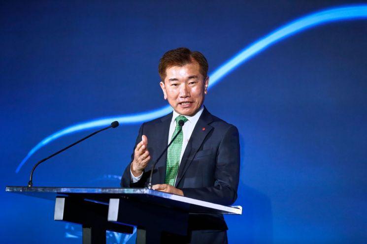 김종현 LG에너지솔루션 사장이 16일(현지시간) 투자발표 행사에서 발언하고 있다.<LG에너지솔루션 제공>