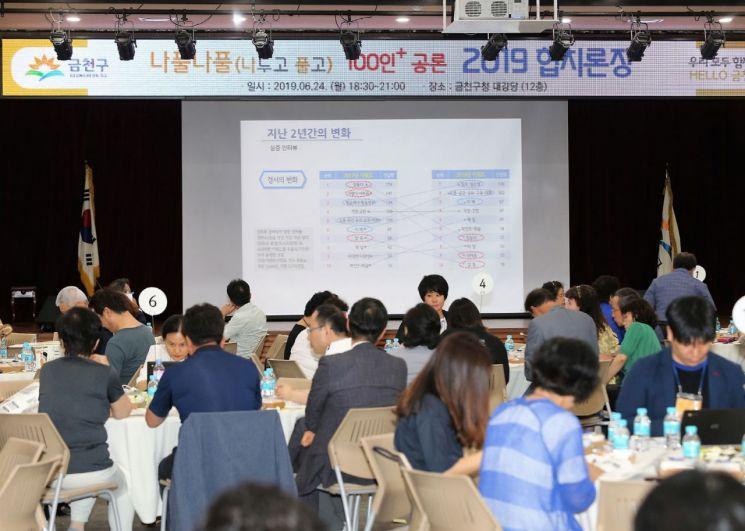2019년 금천구청 대강당에서 개최된 '나풀나풀 100인+ 협치론장'