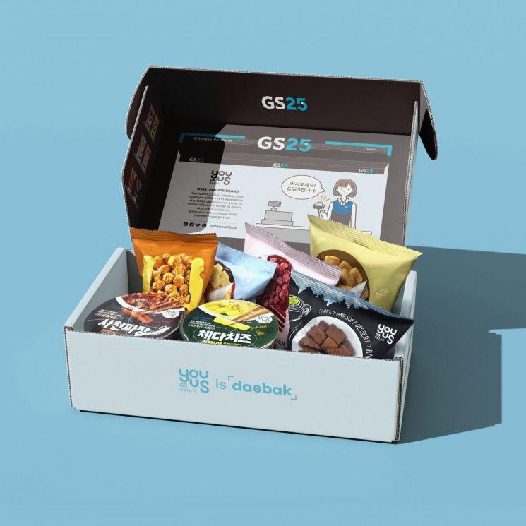GS25가 역직구 사이트 대박을 통해 판매하고 있는 '유어스 이즈 대박' 박스 상품.