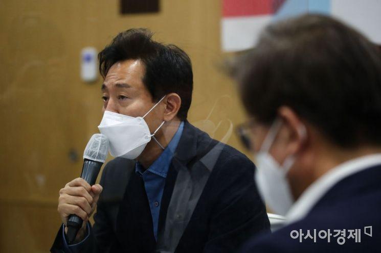 오세훈 서울시장이 18일 오후 서울시청에서 열린 '공시지가 관련 간담회'에서 발언하고 있다. /문호남 기자 munonam@