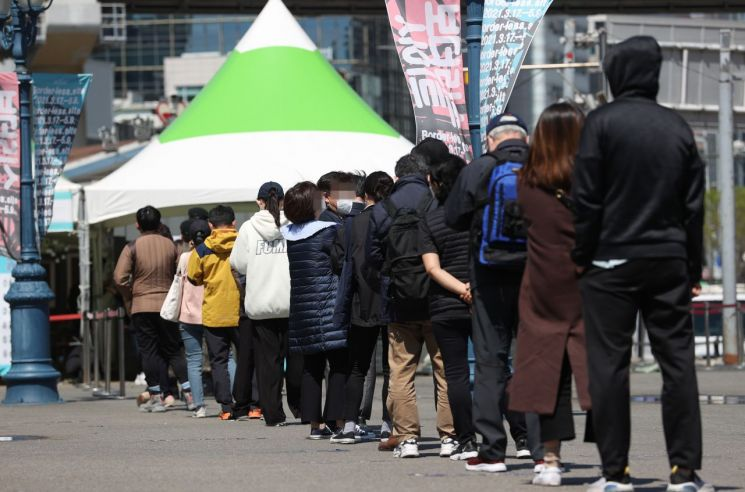 코로나19 검사를 위해 선별진료소에서 줄 서서 기다리는 시민들 [이미지출처=연합뉴스]