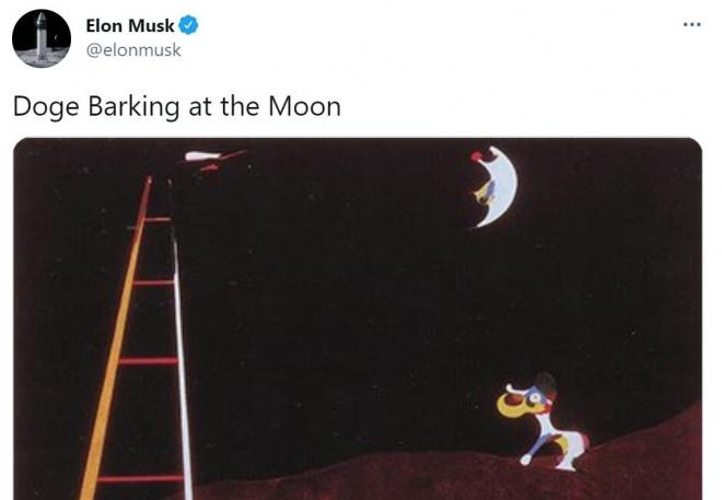 '도지가 달을 향해 짓는다'는 메시지를 올린 일론 머스크 테슬라 CEO. 사진=머스크 트위터 캡처