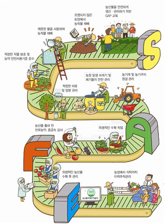 GAP 농산물 생산과정 모식도.(자료=농림축산식품부)