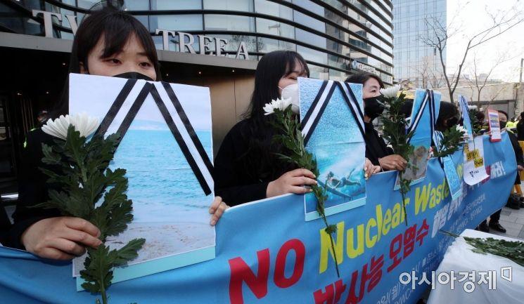 [포토] 日 후쿠시마 오염수 방류 결정, '바다 장례식' 퍼포먼스
