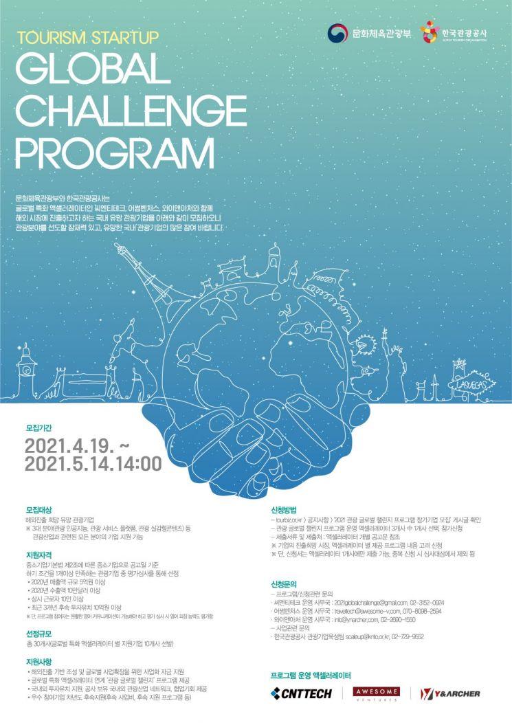 관광공사, '관광 글로벌 챌린지 프로그램' 참가기업 모집