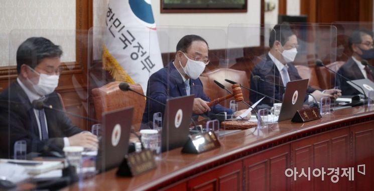 [포토] 의사봉 두드리는 홍남기 총리 직무대행
