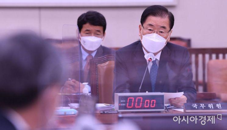 정의용 외교부 장관이 20일 국회에서 열린 후쿠시마 오염수 방출과 관련한 국회 긴급현안보고에 출석, 의원들 질의에 답변하고 있다./윤동주 기자 doso7@