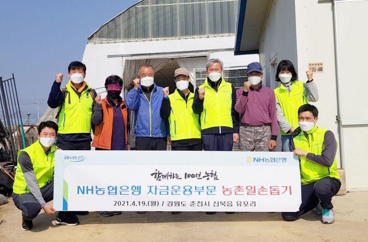 유재도 부행장(사진 왼쪽에서 네 번째)과 자금운용부문 직원들이 19일 강원도 춘천시 소재 농가의 일손돕기에서 기념촬영을 하고 있다.