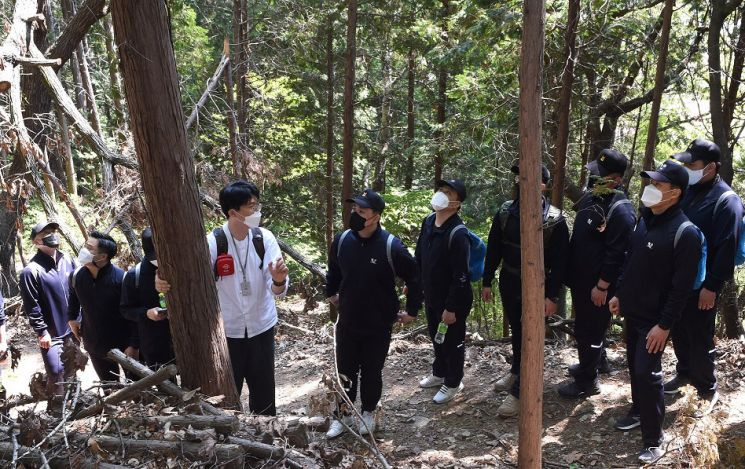 해군장병들이 숲에서 산림치유 프로그램을 체험하고 있다. 한국산림복지진흥원 제공