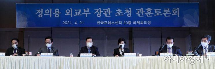 [포토] 정의용 외교부 장관 초청 관훈토론회