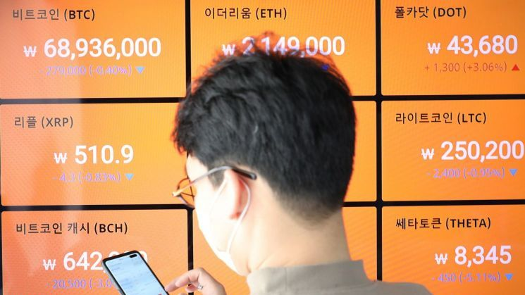 지난달 15일 빗썸 강남센터 전광판에 비트코인 정보가 나오고 있다. 사진은 기사 중 특정 표현과 관계 없음. / 사진=연합뉴스