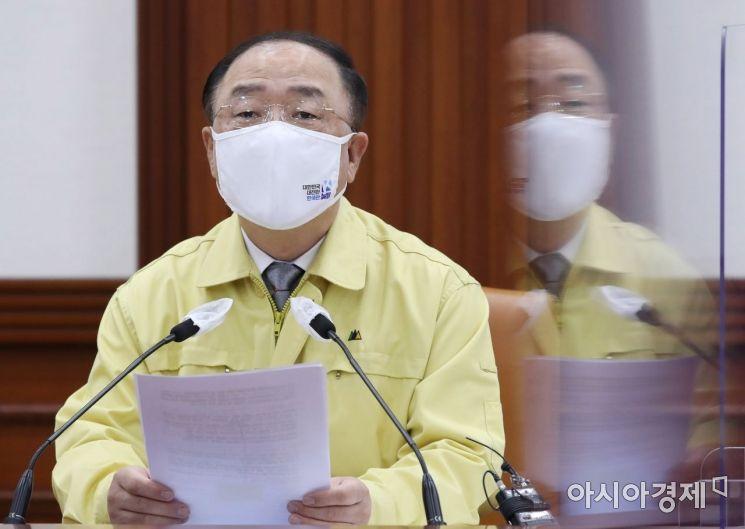 [포토] 모두 발언하는 홍남기 총리 직무대행