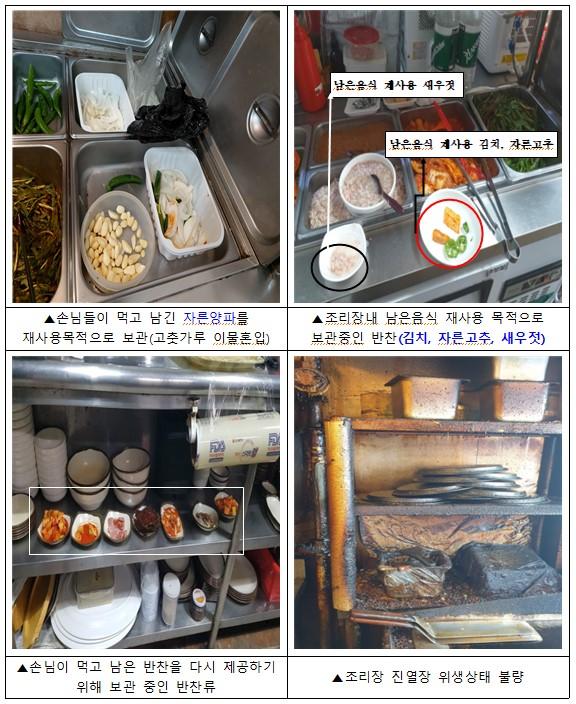 부산 특사경이 단속한 음식물 불법 재사용 사례들. [이미지출처=부산시]
