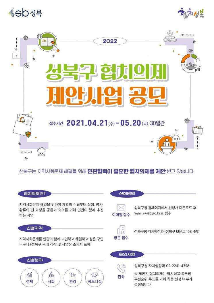 성북구, 2022 민·관 협치의제 제안사업 공모