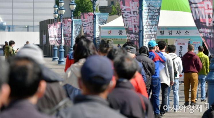 코로나19 확산세가 이어지면서 2일 신규확진자가 나흘째 600명대를 기록했다. 서울역 광장에 마련된 임시선별진료소를 찾은 시민들이 코로나19 검사를 받기 위해 순서를 기다리고 있다./윤동주 기자 doso7@