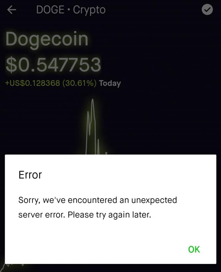 로빈후드 앱이 도지코인 매매가 안된다는 알림을 보냈다.
