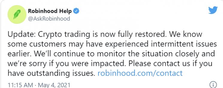 로빈후드는 도지코인 등 가상화폐 매매가 정상화 됐다고 공지했지만 이후에도 어느 정도의 시간 동안 매매를 할 수 없었다.