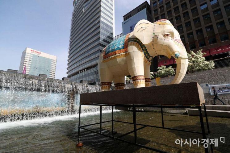 [포토]청계천에 등장한 코끼리
