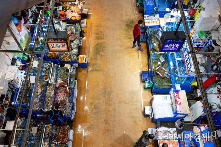 [포토]조금 한산해진 노량진 수산시장
