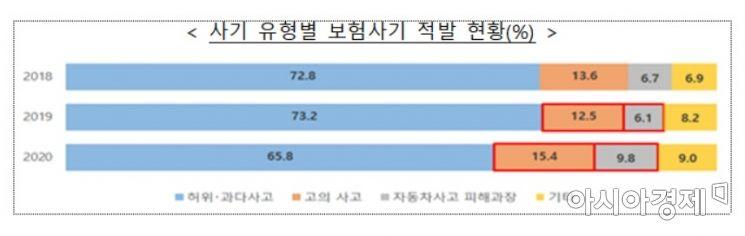 보험사기 유형별 적발현황(자료:금융감독원)