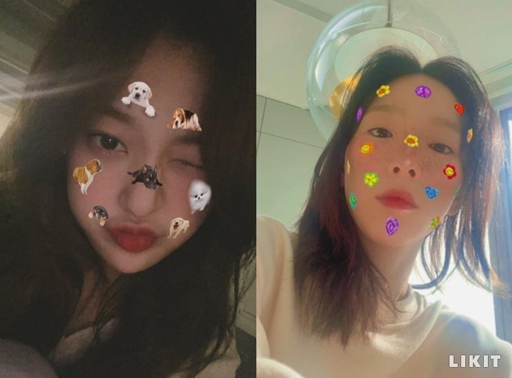 얼굴에 붙인 스티커 감성 셀카, ⓒ이달의 소녀 트위터, 태연 인스타그램