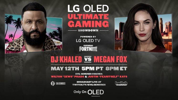 LG전자가 이미지컷을 통해 12일(현지시간) LG FOMO 채널에서 독점 공개되는 음악 프로듀서 DJ 칼리드(왼쪽)와 영화배우 메간 폭스의 게임 대결을 소개하고 있다.[사진제공=LG전자]