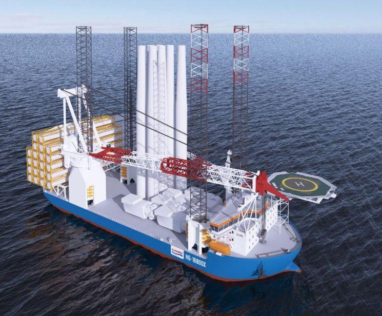 대우조선, 3700억 규모 대형 해상풍력발전기 설치선 1척 수주
