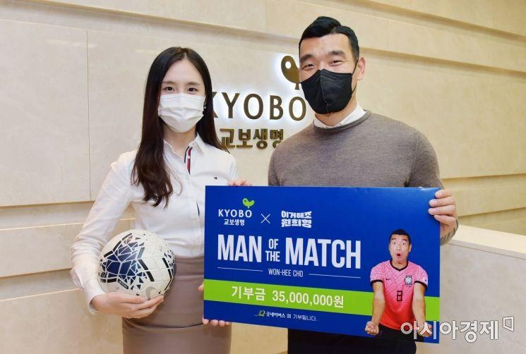 교보생명은 축구선수 조원희 선수와 도서산간 지역 유·청소년 축구 꿈나무를 지원한다고 13일 밝혔다.