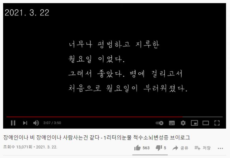 지수씨의 영상 대부분은 그날의 감정을 담은 글로 마무리된다. 사진='비틀이' 유튜브 채널 영상 캡처